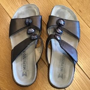 Mephisto Jeweled Velcro T-Strap Leather Sandals